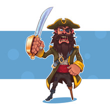 Cartoon Pirate With A Sword.Ve...