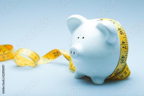 Piggy Bank with Measuring Tape Fototapeta