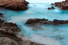 Waves Hitting Shore, Rocks And Cliffs In Tossa De Mar Beach,