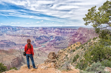 Hiker In Grand Canyon National Park, USA