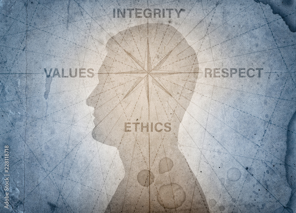 Fototapeta Human head and compass points to the ethics, integrity, values, respect. The concept on the topic of business, trust, psychology etc.