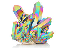 Amazing Colorful Flashing Quartz Rainbow Titanium Aura Crystal Cluster Closeup Isolated On White Background. Macro Of Beautiful Rare Sparkly Rainbow Mineral Stone