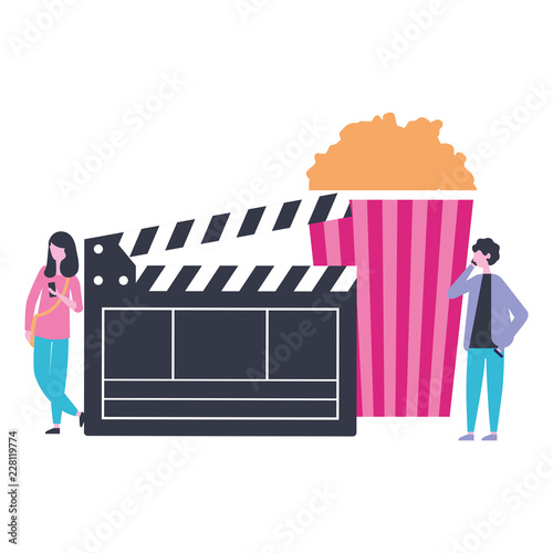 фотография man and woman popcorn and clapperboard production movie film