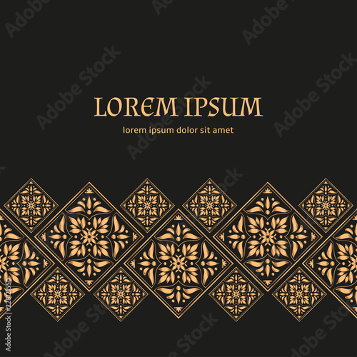 Luxury Background Vector Gold Black Tile Royal Pattern Border