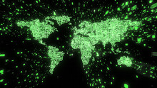 Green Computer Circuitry World Map With Streams Of Binary Data