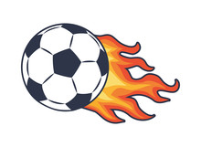 Soccer Ball And Fire Trace Vector Illustration