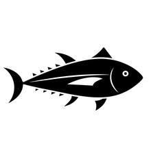 Tuna Fish Glyph Icon. Seafood Clipart Isolated On White Background
