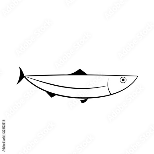 Herring Fish Outline Icon Seafood Clipart Isolated On White