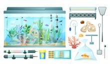 Aquarium And Its Elements Isol...