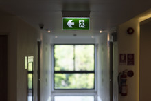 Green Exit Light In The Building