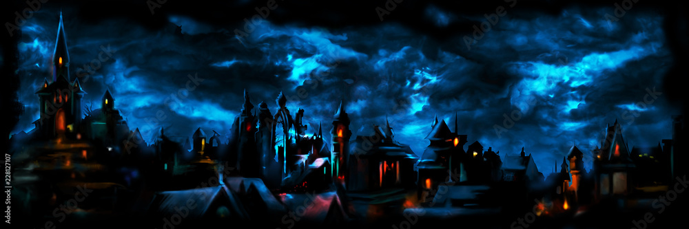 Fototapeta Medieval night town banner/ Illustration a fantasy town night scape with lights, sky with clouds on the background