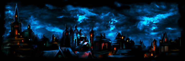 Medieval night town banner/ Illustration a fantasy town night scape with lights, sky with clouds on the background