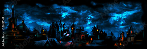 Obraz Medieval night town banner/ Illustration a fantasy town night scape with lights, sky with clouds on the background  - fototapety do salonu