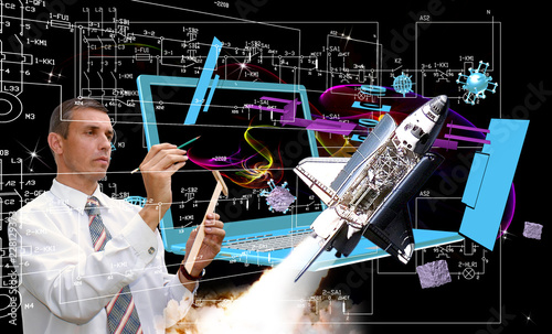 engineering technologies generation space rocket.elements of this image furnished by NASA