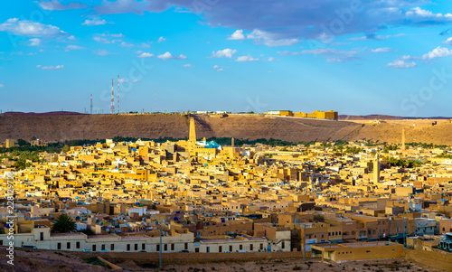 View of Ghardaia, a city in the Mzab Valley. UNESCO world heritage in Algeria