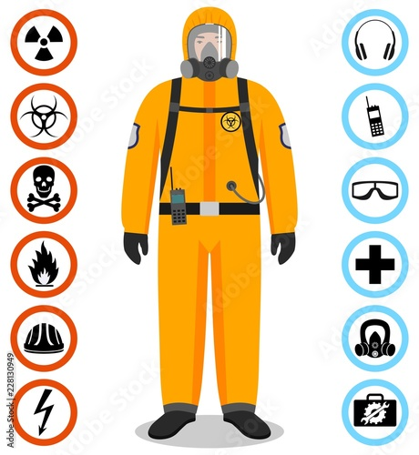 Industry concept. Detailed illustration of worker in orange protective suit. Safety and health vector icons. Set of signs: chemical, radioactive, dangerous, toxic, poisonous, hazardous substances. Wall mural