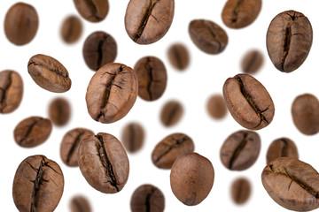 Panel Szklany Podświetlane Do kuchni Coffee beans falling