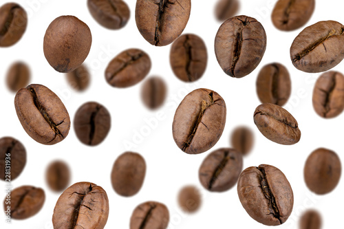 Poster Salle de cafe Coffee beans falling