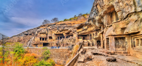 Deurstickers Asia land View of Buddhist monuments at Ellora Caves. A UNESCO world heritage site in Maharashtra, India