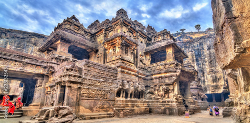 The Kailasa temple, cave 16 in Ellora complex. UNESCO world heritage site in Maharashtra, India