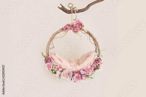 Photo  Lovely flower background for newborn baby, concept of newborn baby