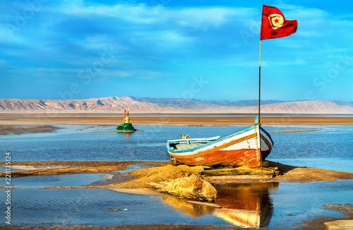 Boat on Chott el Djerid, a dry lake in Tunisia Canvas
