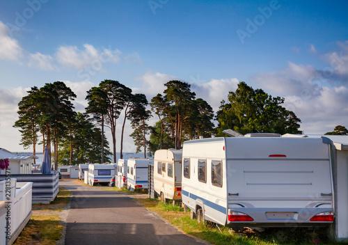 Vászonkép Camper trailers at norwegian holiday RV park