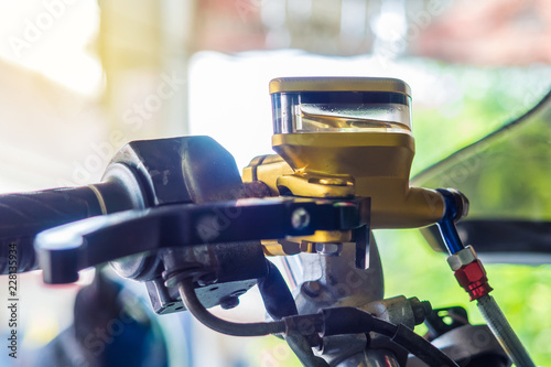 close up of motorcycle container brake fluid, brake master cylinder reservoir Wallpaper Mural