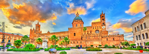 Photo sur Toile Palerme Palermo Cathedral, a UNESCO world heritage site in Sicily, Italy