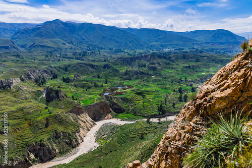 Foto op Canvas Zuid Afrika Landwirtschaft mit Terrassenfelder entlang des Rio Colca in den Anden in Peru