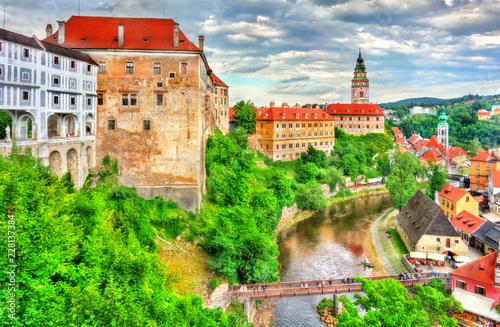Spoed Foto op Canvas Centraal Europa View of Cesky Krumlov Castle in Czech Republic