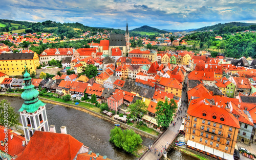 Fotobehang Centraal Europa View of Cesky Krumlov town, a UNESCO heritage site in Czech Republic