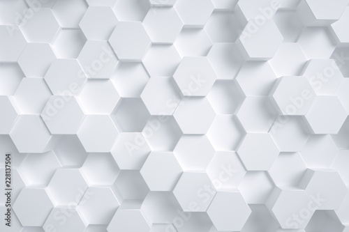 3d rendering, hexagon with white background - 228137504