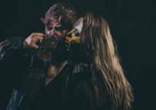 Halloween Couple, Woman Man Drink Beer On Black Background