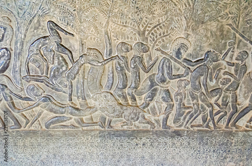 The wall of one of the galleries of Angkor Wat showing episodes from the Hindu e Tablou Canvas