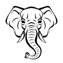 Vector Beautiful Elephant Face...