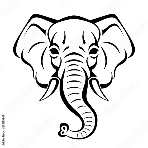 Vector Beautiful Elephant Face Tattoo Sketch Or Template For Print
