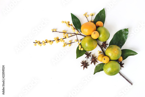 Christmas floral composition. Decorative corner, branch of tangerine citrus fruit and leaves, anise stars, yellow holly berries and little apples isolated on white table background. Flat lay, top view