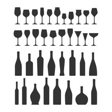 Various Types Wine Glasses And Bottles Icon Set. Wine Glass And Bottle Vector Black Silhouette Collection Icons.