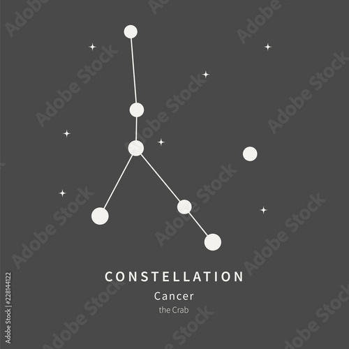 The Constellation Of Cancer. The Crab - linear icon. Vector illustration of the concept of astronomy.