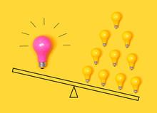 Many Ideas Versus One Big Idea With Light Bulbs