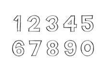 Vector Of Digits In Hand Drawn...
