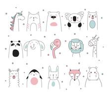 Doodle Animals Set, Vector Illustration
