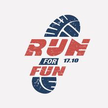 Run Symbol In Grunge Style, Ma...