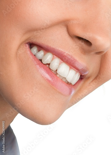 Closeup on a Woman Smiling Mouth #228149915