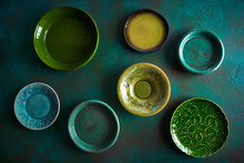 Ceramic Tableware Dishes Plates On Grungy
