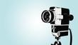 Leinwanddruck Bild - Vintage Kamera auf Stativ, Hintergrund in retro Pastellfarben, blau
