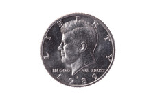 USA Half Dollar Nickel Coin (50 Cents) Dated 1989 With A Portrait Image Of President John Kennedy Cut Out And Isolated On A White Background