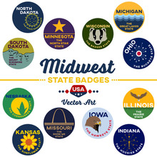 United States | Midwest State Digital Badges | Vector Art