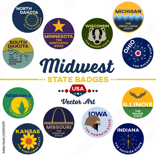 united states | midwest state digital badges | vector art Wallpaper Mural